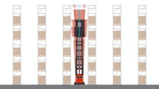Zobrazení systémového vozíku pro velmi úzké uličky řadyK od společnosti Linde se systémem Active Stability Control