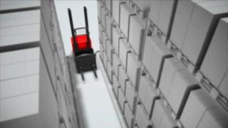 Animace bezpečnostního systému do uliček volitelně dostupného pro Vertical Order Picker V modular od společnosti Linde.